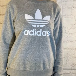 ADIDAS LOGO SPELLED OUT GRAY SWEATSHIRT